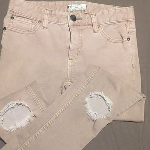 Free People tan distressed jeans